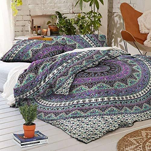 Indian Mandala Cotton Purple Star Doona Duvet Cover Comforter Queen Quilt Cover