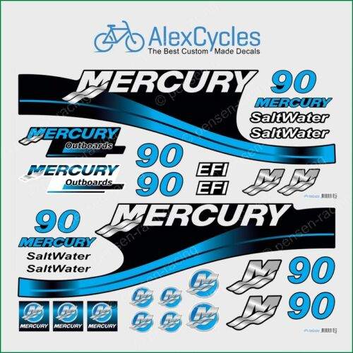 Mercury 90 HP Blue SaltWater EFI Outboadrs Motor Laminated Decals Boat Kit