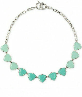 Fashion Aqua Faceted Triangular Style Crystals Dot Chain Necklace