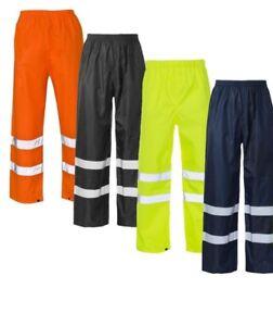 Workwear-Hi-Vis-VIZ-VISIBILIDAD-Ropa-de-trabajo-seguridad-por-encima-de-los-Pantalones-Pantalones