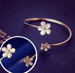 1pc Fashion Women Flower Crystal Gold Plated Cuff Bracelet Bangle Charm Jewelry