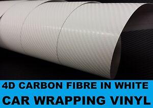 4D CARBON FIBRE WHITE VINYL WRAP AIR RELEASE BUBBLE FREE STICKY BACK PLASTIC