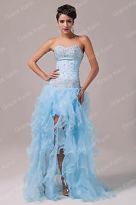 BLUE UNIQUE Long WEDDING Formal Ball Gown Evening Bridesmaid Party Prom Dresses