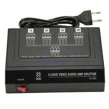 4 Way 1 In 4 Out 3 RCA Video Audio AMP Amplifier Splitter HDTV DVD VCD 4 Ports