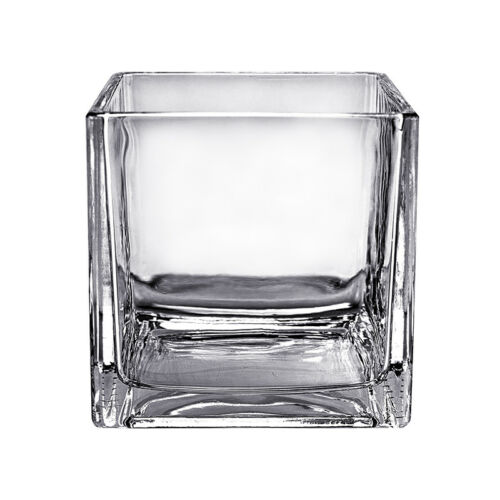 "Square Glass Vase Cube 6 Inch 2pcs 6/"" x 6/"" x 6/"" Centerpiece"