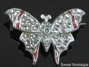 LOVELY-VINTAGE-40-50-039-S-CHARLES-HORNER-STAYBRITE-BUTTERFLY-BROOCH