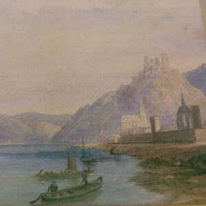 Englischer-Maler-RHEINROMANTIK-Oberwesel-SCHONBURG-Romantik-Rheinlandschaft