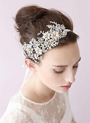 Tone 100% Hand Made Gold Crystal Hairband Wedding Bride Prom Headband Hair Piece