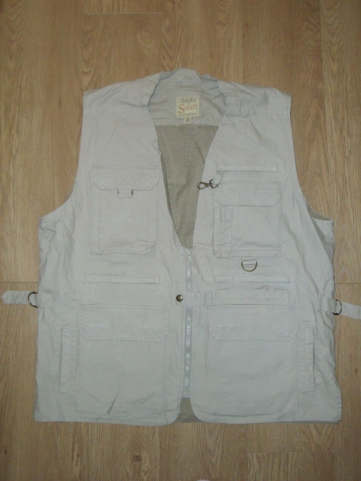 Cabela's Men's Safari Vest Hunting Pigeon Shooting Fishing Top Beige Khaki XL