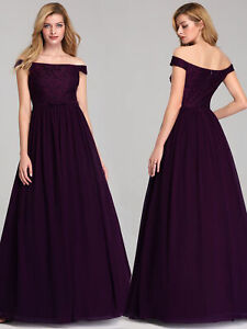 Ever-Pretty UK Off Shoulder Bridesmaid Dresses A-Line Evening Cocktail Prom Gown