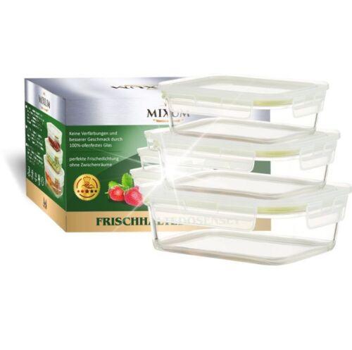 300//500//850 ml Mixum Glas 3x Frischhaltedosen rechteckig 3 Dosen mit 3 Deckel