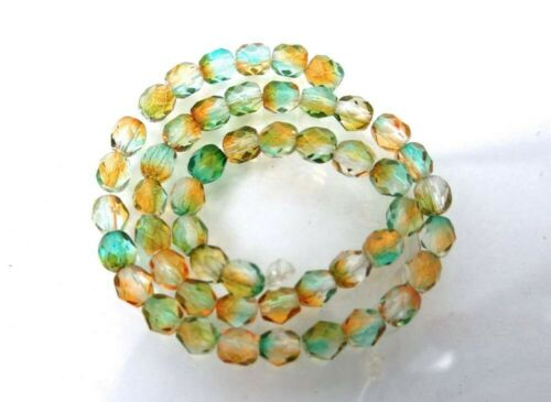 Orange Teal 4mm Dual Coated 50 Firepolish Czech Glass Faceted Round Beads