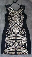 BNWT LIPSY Size 12  BLACK GOLD SEQUIN DRESS, BEAUTIFUL