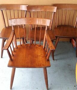 Details about Set of 5 Antique Maple Cushman Style Windsor Back Dining  Chairs