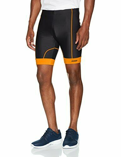 Gregster Herren Laufhose Sporthose Radler XL Fitnessshort Schwarz//Orange