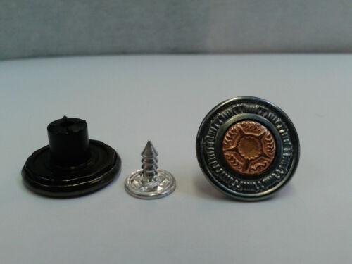 Jeans boutons 17mm marteau sur antique//laiton centre de haute qualité-pack de 10
