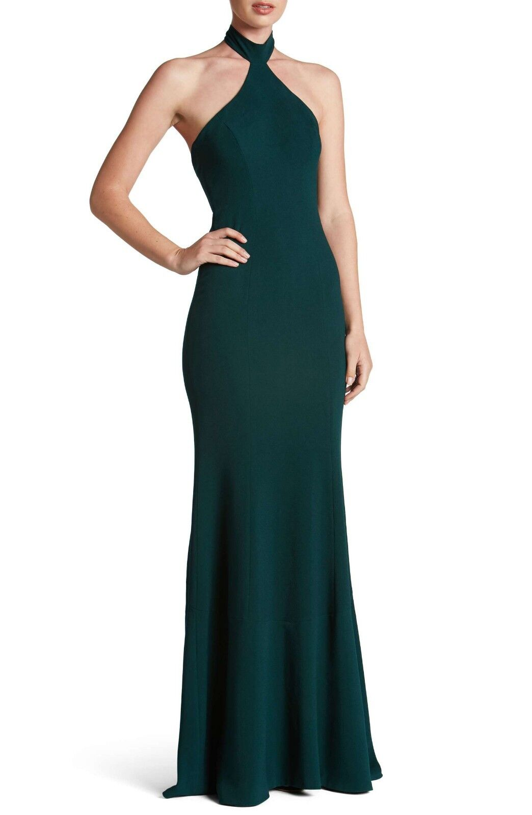 NEW Dress The Population Taylor Crepe Halter Gown Pine Green [SZ Large]  e167