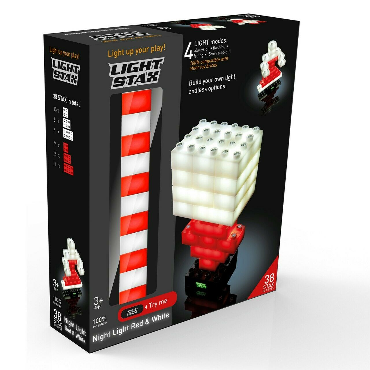 LIGHT LIGHT LIGHT STAX® Junior Night Light, Rot, Weiß, 38 LED Bausteine  | Schönes Aussehen