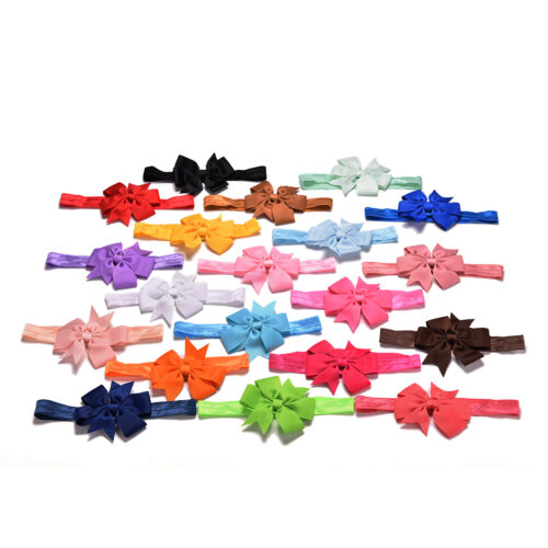 20 Pcs//lot Girl Hair Bow Headband Elastic Hair Bands Newborn Infant Toddler   vx