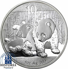 China Panda 2010 Silber Unze 10 Yuan Silbermünze in Münzkapsel