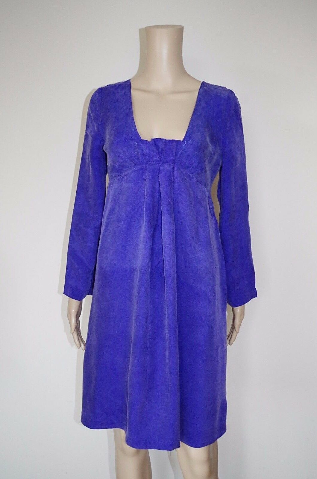 ARMANI JEANS US 4   40 EU WOMENS DRESS CUPRO BUBBLE PURPLE LOOSE FIT PREGNANCY