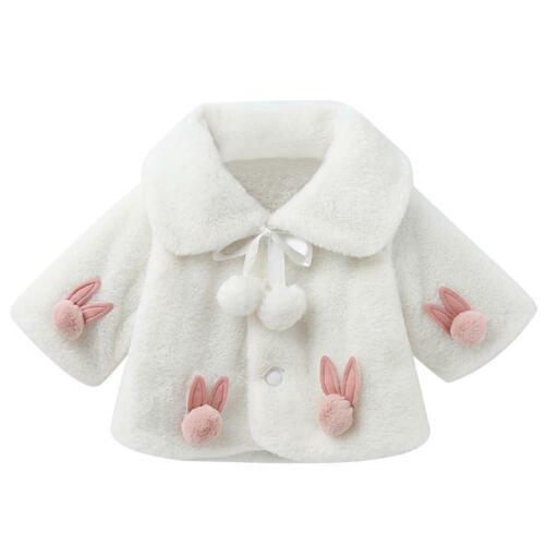 Rabbit Pompom Fleece Coat Kids Girls Winter Doll Collar Cardigan Outwear E0Xc