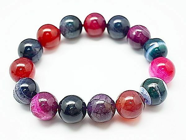 14MM Rare 5A Natural multicolor Dragon Agate Round Beads Bracelet Gift BL5011c