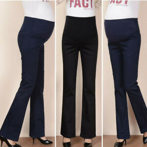 Women-Maternity-Plus-Solid-High-Waist-Flare-Pants-Trousers-Pregnancy-Leggings-ED