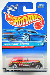 HotWheels-1997-Rare-No-695-CLASSIC-CADDY-in-Jammin-Tours-Livery-MINT-on-Card