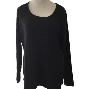 Kim Rogers knit top size XL solid black long sleeve classic
