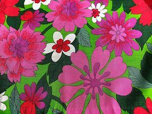 SALE-Groovy-Flower-Power-1960-039-s-Barkcloth-Era-Vintage-Fabric-Drape-Curtain-MCM