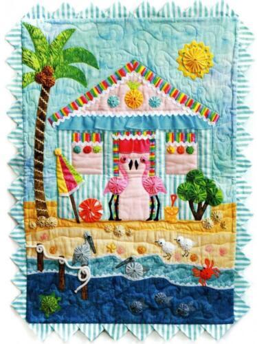 Flamingo Cove Tropical Beach Quilt Pattern Applique Yo-Yo Marcia Layton