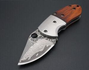 Damascus-Steel-Blade-Mini-Pocket-Folding-Knife-Wood-Handle-EDC-Tools-Survival