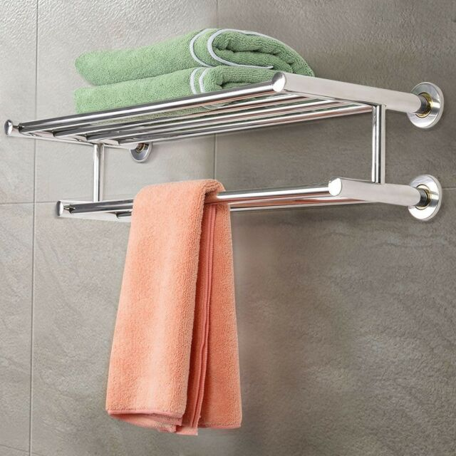 Bathroom Stainless Steel Double Towel Rack Wall Mount Shelf Bar Rail