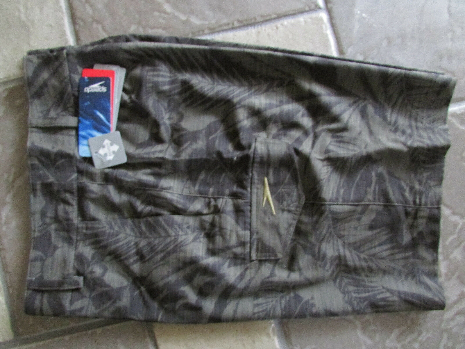 NEW SPEEDO HYBRID SWIM SUIT WATER SHORTS TRUNKS MENS 36 BROWN FLORAL  FREE SHIP