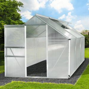 Aluminium Gewächshaus mit Stahlfundament 5,85m³ Alu Gartenhaus Treibhaus Garten