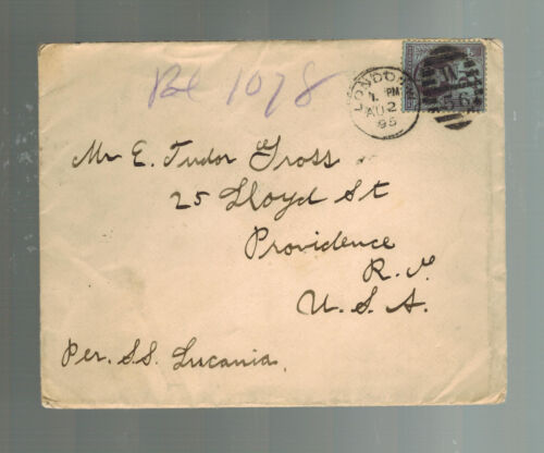 1895 London England Cover to USA Via SS Lucania from Brown's Hotels
