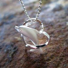 Dolphin Heart Hawaiian Genuine Silver Pendant Necklace Christmas Gift # SP30101