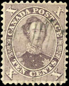 1859-Used-Canada-10c-VF-Scott-17-HRH-Prince-Albert-First-Cents-Issue-Stamp