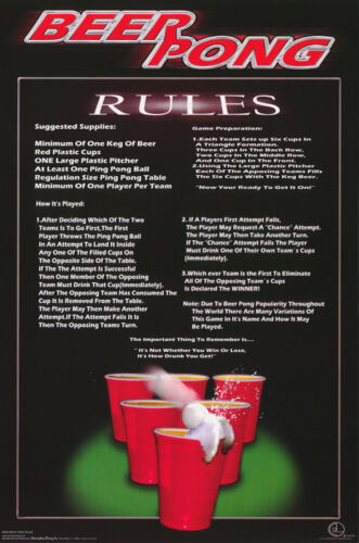 #3464 RP91 C COMICAL POSTER BEER PONG RULES   FREE SHIPPING