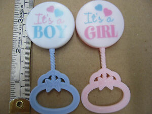 new 48 rattles baby shower welcome baby party favors cup cake topper BLUE PINK