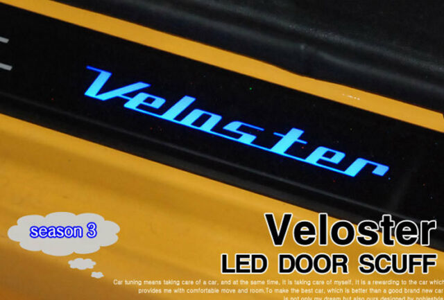 (fit: Hyundai 2011-2015 Veloster) LED Light Door sill scuff Plate