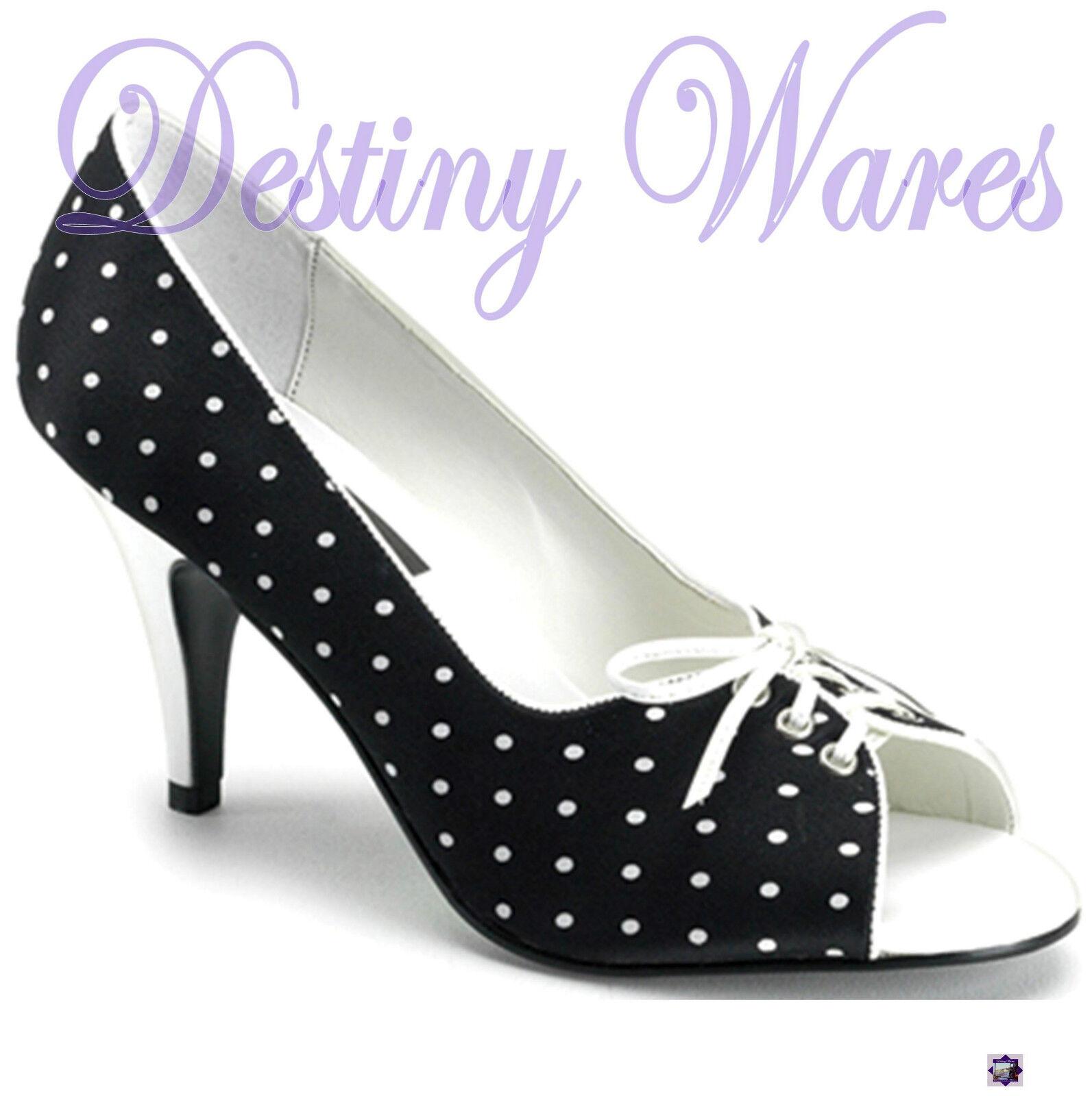 Pupil-24 schwarz SATIN Weiß POLKA DOT 3  Heels Open Open Open Toe Pumps Größe 7US = 6AU c611d2