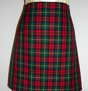 SHORT-BISTRO-CAFE-PUB-APRON-RED-GREEN-TARTAN-with-POCKET-Made-in-Scotland