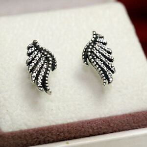 0e6f78ee7 Image is loading Authentic-Pandora-Majestic-Feathers-Stud-Earrings-Clear-CZ-