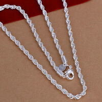 XMAS wholesale free shipping sterling solid silver 3mm rope necklace YN654+box