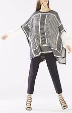 BCBGMAXAZRIA Jayde Knit Jacquard Poncho Sweater Black Comb Size XS/S NWT $298