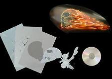 XL Airbrush Schablone seitl. Schädel/Skull mit Flammen 004 für Motorräder usw.