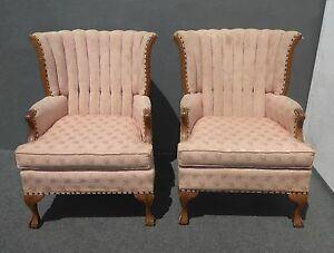 Image Is Loading Pair Vintage French Provincial Mauve Tufted Channel Back