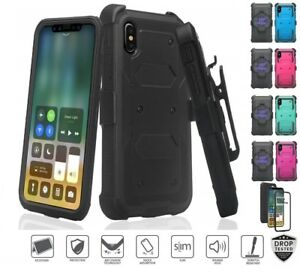 sale retailer 411cf 5424a Details about iPhone XR Belt Clip Holster Combo With Built in Screen  Protector Stand Case 10R